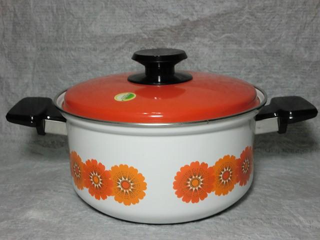 画像1: ホウロウ鍋(オレンジ花) (1)