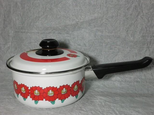 画像1: ホウロウ片手鍋(赤花)象印 (1)