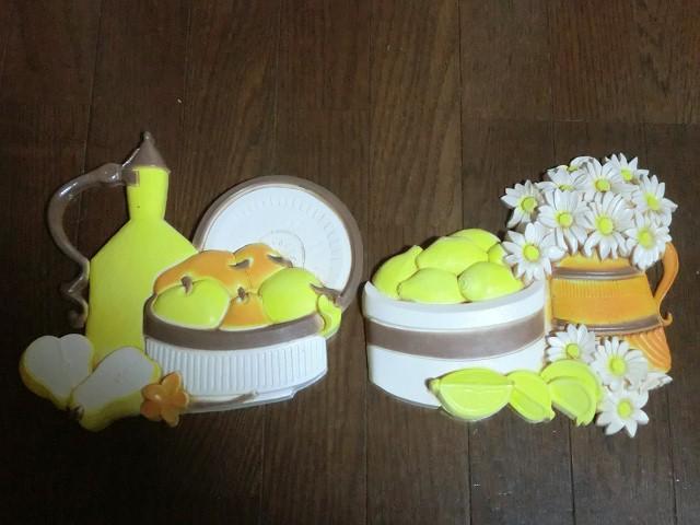 画像1: 花とレモン・ポット・壁掛け (1)