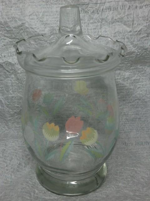 画像1: チューリップ柄ガラスジャー (1)